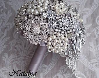 Brooch Bouquet, Diamante Brooch Bouquet ,Bridal Bouquet, Wedding Bouquet, Fabric Bouquet, Unique Bridal Bouquet