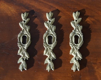 Set of 3 Antique french gilded bronze furniture decoration