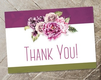 Floral Thank You Cards, Boho Chic Thank Yous, Printable Thank Yous, Rustic Fuchsia & Moss Green Florals, Watercolor
