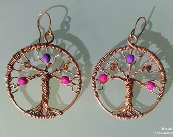Tree of Life hoop copper earrings, wire wrapped Tree of Life earrings with beads Boho handmade unique gift idea