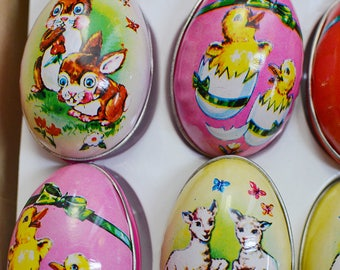 1940s Vintage Tin Litho Eggs Display (with original candy)