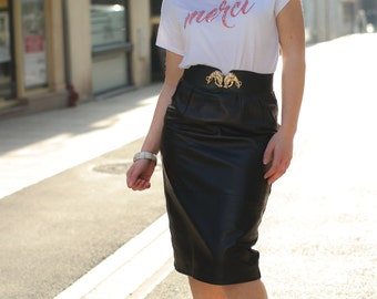 Black leather skirt 80s - Made in France
