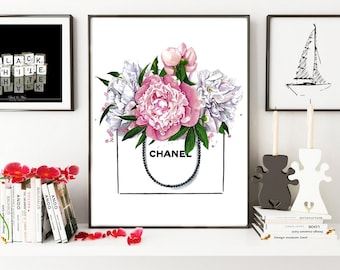 Chanel illustration, Peony print, Peonies print, Fashion illustration, Chanel print, Chanel art print, Peonies flower art,Watercolor flowers
