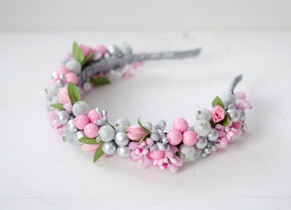 Flower and berry headband / pink and silver color/ ukrainian floral crown / berry wreath / pink tulips