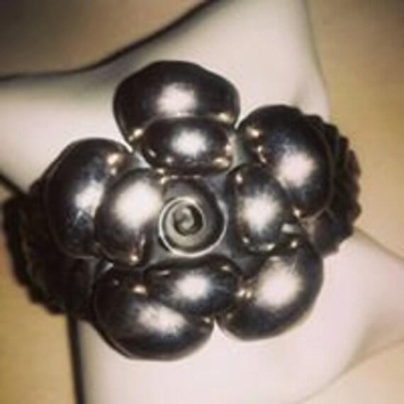 Rose silver cuff bracelet