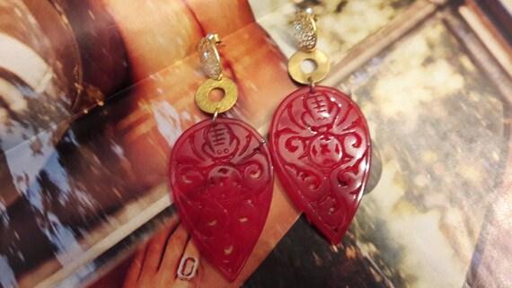 Red jade earrings