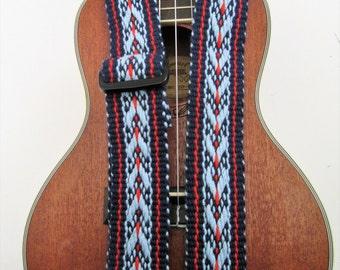 Handwoven 1.5 Inch  Ukulele Strap, Banjo or Mandolin Strap, Handmade Leather Ends , Free Leather Strap Holder or Banjo Adapters