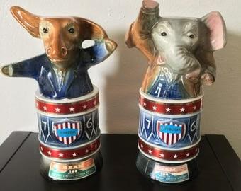 Set of 1976 Vintage Jim Beam Democrat & Republican Bicentennial Decanters