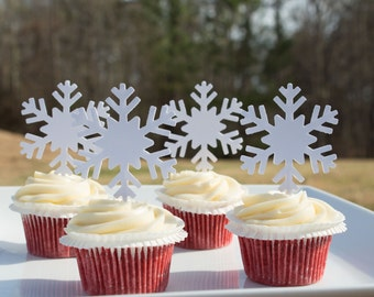 White Snowflake cupcake topper; Paper Snowflakes; Food Pick; Holiday Food Pick; Christmas topper; Winter Wonderland