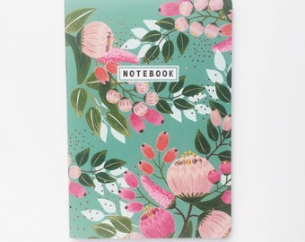 Green floral lined notebook