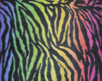 Rainbow Zebra Print Fleece Fabric - Sold BTY