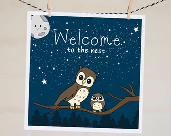 Welcome to the Nest Card | New Baby Card | Birth Card | Baby Shower Card | Cute Owl | New Baby Congratulations | New Mum Card | Congrats