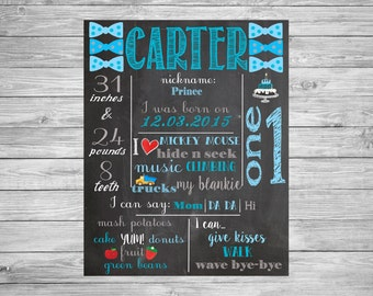 First Birthday Chalkboard/1st Birthday Chalkboard/Printable Chalk Poster/1st Birthday Custom Sign/Chalkboard Sign/bow tie