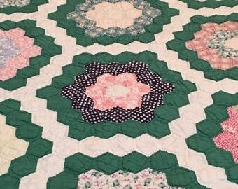 1930s Green Grandma's Flower Garden Quilt