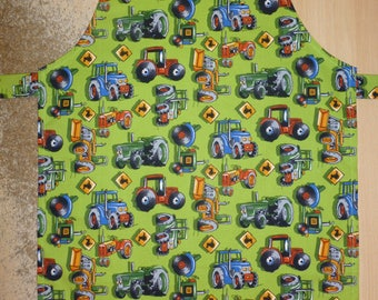 Apron for kid / Tractors, apron, kids apron, kitchen apron, kids kitchen apron