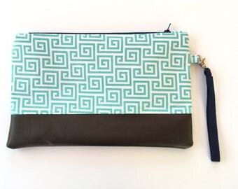 Clutch bag, purse, wristlet, wallet, aqua and black