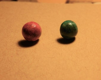 pink and teal stud earrings, polymer clay, luna lovegood inspired, harley quinn inspired, boy and girl inspired