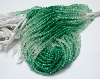 10 Strands, Shaded Green Onyx Beads, Faceted Rondelle Beads, Onyx Rondelle 4 mm Beads, Gemstone Beads, 14 Inch