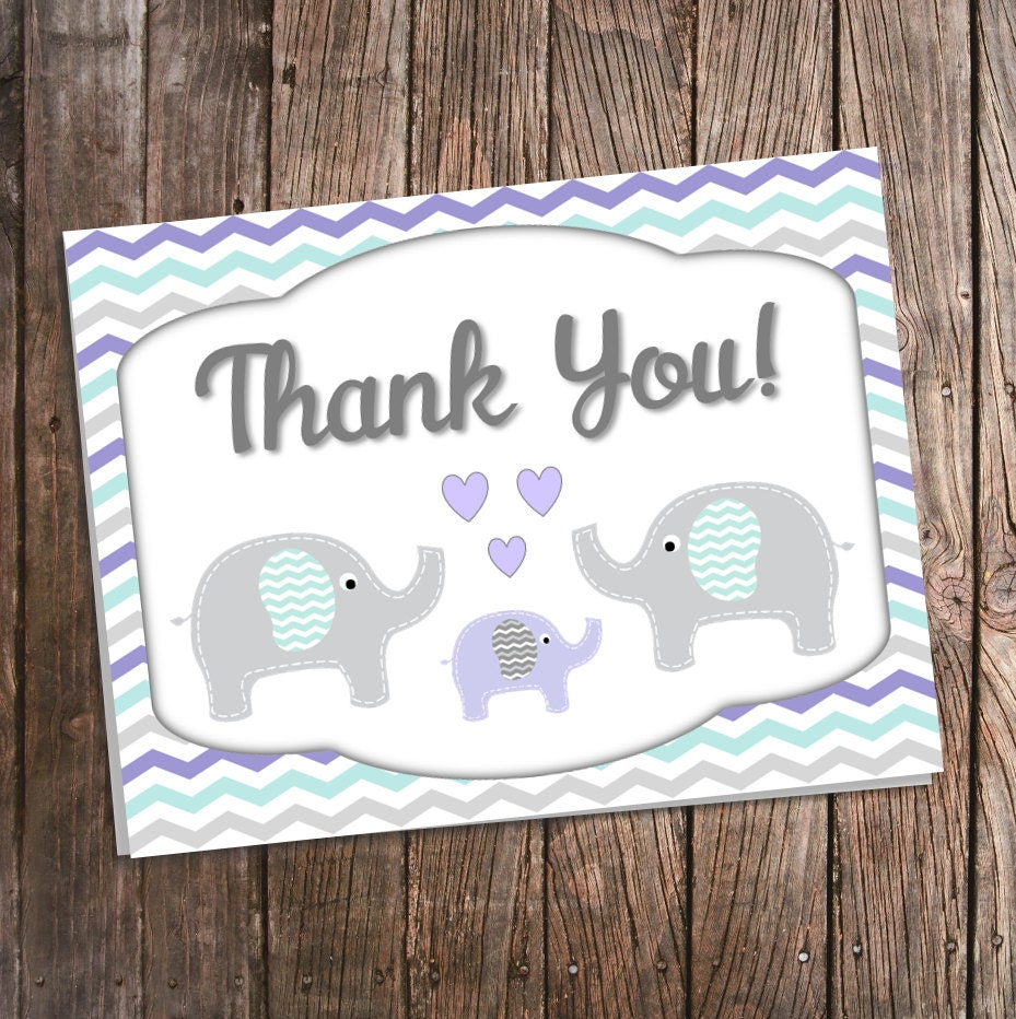 elephant thank you cards for baby shower purple teal and