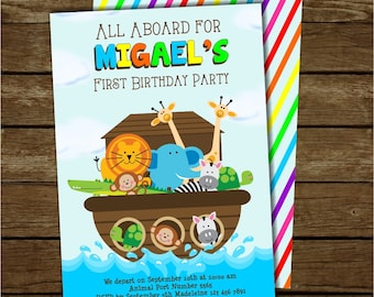 Noah's Ark Invitation, Noah's Ark Invite, Noah's Ark Party, Free Rainbow Striped Back, Customized Printable Invitation, Noah's Ark Birthday