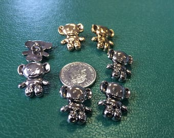 Novelty Buttons Teddy Bear antique Silver colour 10 - 12mm for clothing - jewellery - scrapbooking - card making