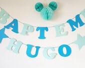 """Guirlande """"Baptême"""" + prénom en papier 210 gr sur coton enduit- couleurs assorties"""