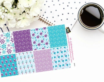 Planner Stickers | Cool Winter Castle Half Boxes|Purple and Blue Full Boxes|For use in various planners and journals|BPF01
