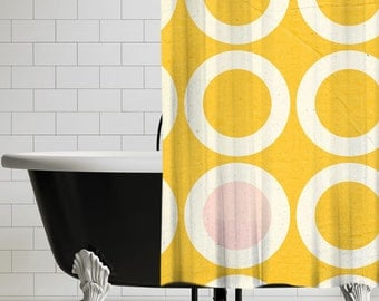 Retro Yellow Shower Curtain - Retro Bathroom Decor | UBU Republic
