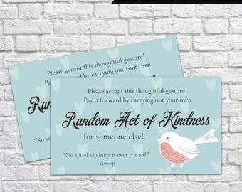 Printable Random Act of Kindness Cards, RAOK, Pay It Forward, DIY Printable, Calling Cards, Random Acts - Winter Bird