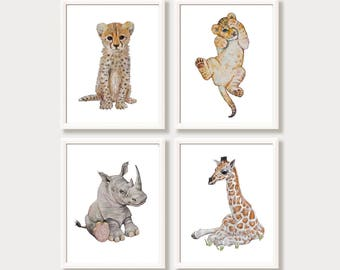 Nursery Wall Art Set of 4 Safari Animal Prints Zoo Animals Printable Art Watercolor Baby Animal Digital Download Lion Cheetah Rhino Giraffe