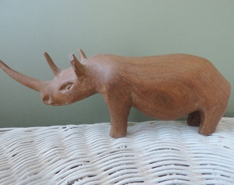 Hand Carved Wood Rhino Vintage