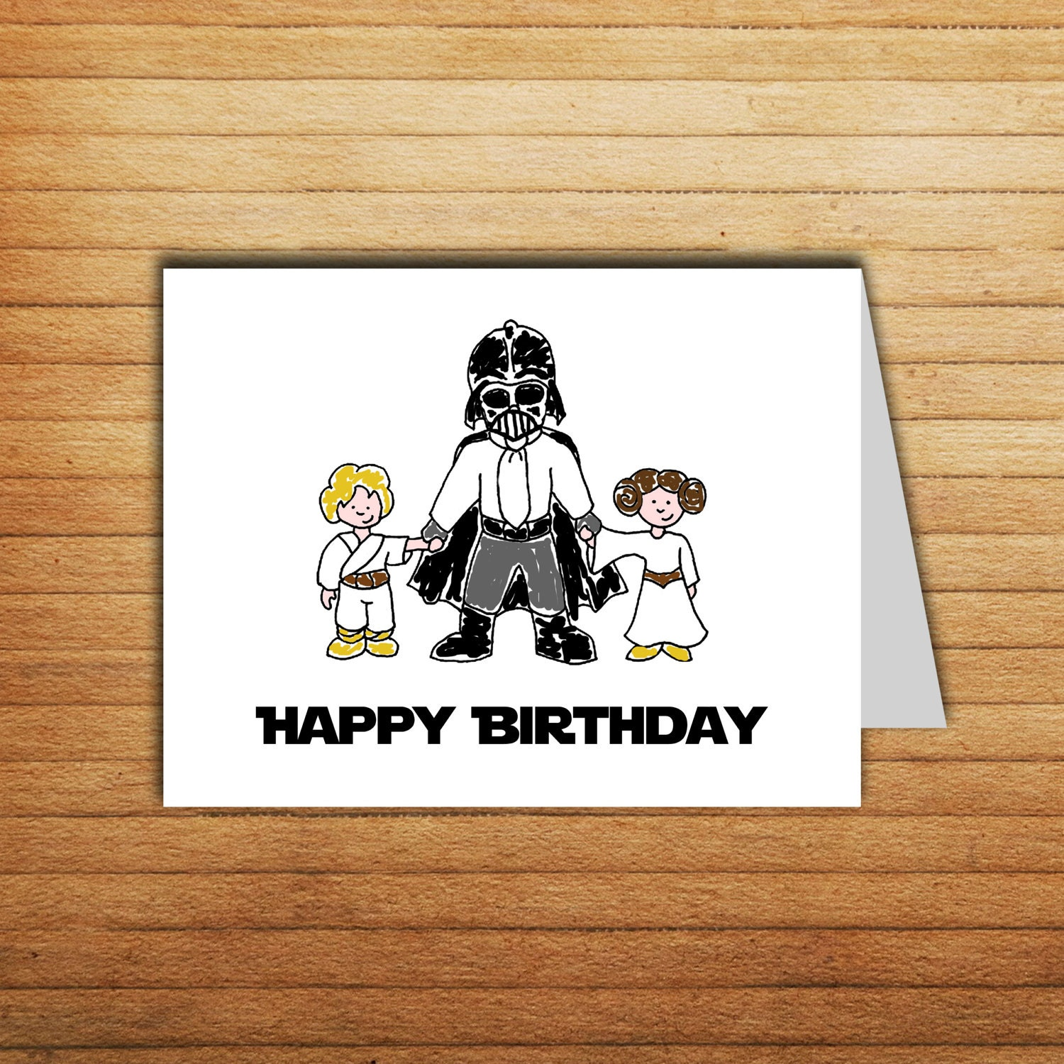 Declarative image with printable star wars birthday card