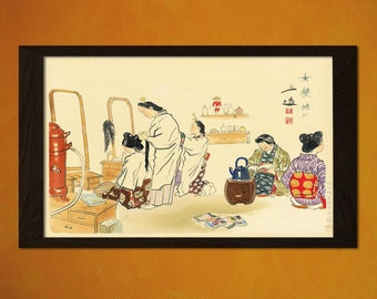 Japanese Art Wada Sanzo Hair Dresser 1940 Ukiyo-e Art Home Oriental Asian Art Edo Period Japanese Artist