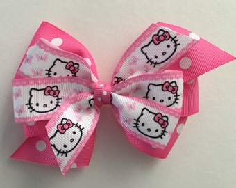 Hello Kitty Hair Bow Hello Kitty Bow Pink Polka Dot Hello Kitty Bow Pink and White Hello Kitty Bow Pink and White Bow Pink Polka Dot Bow