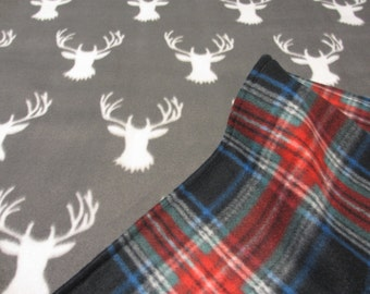 Woodland Baby Blanket, Stag and Plaid Baby Blanket, Woodland Baby Shower, Plaid Baby Blanket, Plaid Baby Shower, Deer Baby Shower