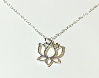 Lotus flower sterling silver necklace lotus charm delicate necklace lotus pendant yoga meditation boho charm jewelry, thetrendyones