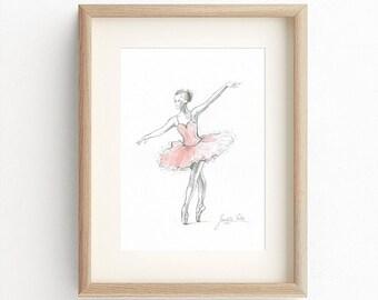 Ballerina Print, Pink Ballerina, Ballerina Drawing, Ballerina Painting, Watercolor, Ballet Illustration, Ballet Art, Ballerina Dancer, Pink