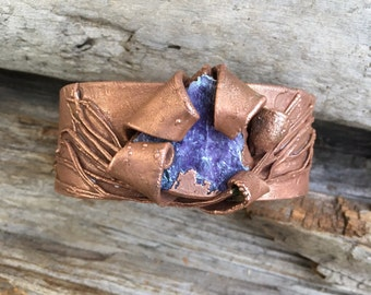 Bangle,cuff, Hand cut copper bangle with natural branch details. Purple cotton marble  cuppled with a delicate eucalyptus pod holding a swar