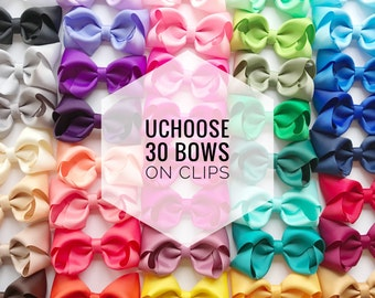 30 Hair bows on clip UCHOOSE, hair bows, bow bundle, toddler bows, baby bows, girls bows, clip bows, cheap hair bows, hair bow set, bow clip