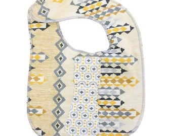 Graham's Golden Aztec Baby Bib  | Gray, Ivory, Yellow, Aztec, Tribal Baby Boy Tie Bib
