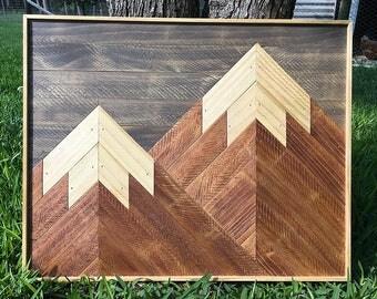 Wood Wall Art, Mothers Day Gift, Wood Wall Decor, Reclaimed Wood Art, Mountain Scene, Mountain Range, Rustic Art, Geometric Artwork
