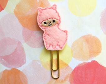 Planner Clip, Pink Llama, Paperclip Bookmark, Planner Accessory