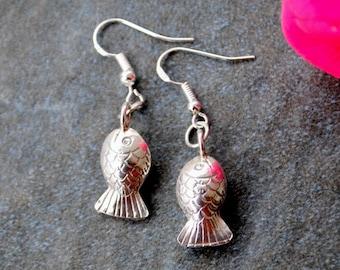 Silver Fish Earrings Thai Silver Fish Bead Earrings