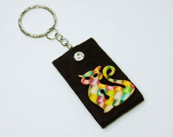 Key chain cat in black with Rhinestone Pocket pendant Keyring - pendant Keychain, cats stained
