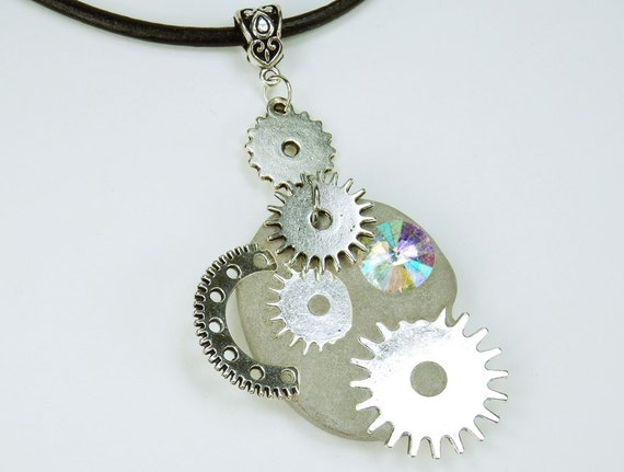 Necklace Glamour Steampunk glittering royal colorful rhinestones stone concrete jewelry on black leather strap unique gears concrete Jewelry