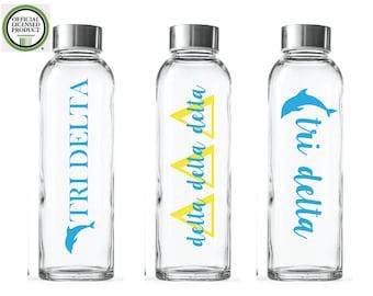 Custom Greek water Bottles- Tri Delta- Sorority Glass Bottles