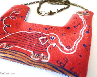 Hand painted, fabric necklace, exclusive necklace, textile jewelry, handmade pendant, red necklace, spring jewelry, exclusive design,fashion