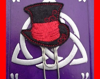 Top Hat Black Red - Jumbo Clip - PaperClip - Felt Planner Clip - Planner Accessory - Stationery - Cute Paper Clip - Bookmark - Planner Clip
