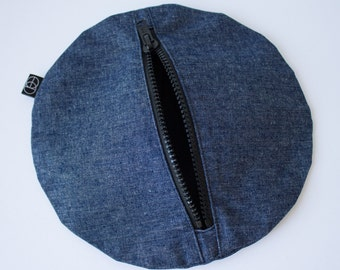 Circle Clutch in Denim, Zipper Purse, Denim Bag, Circular Bag, Round Handbag, Handmade Zipped Purse, Indigo Bag by Clan Collective