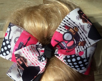 "Jojo Inspired Large 6"" Boutique Hair Bow Clip"